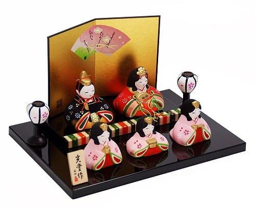 【結納屋長生堂】錦彩華みやび雛 (陶器製の雛人形)