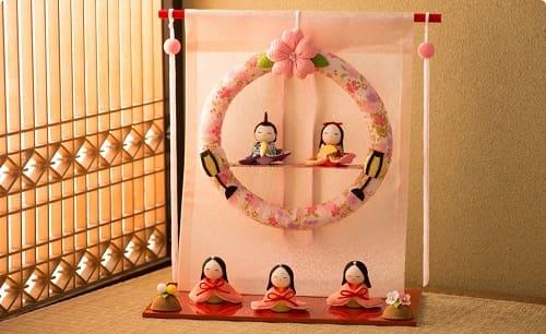 【龍虎堂】卓上ミニ輪飾りわらべ雛・几帳リース雛